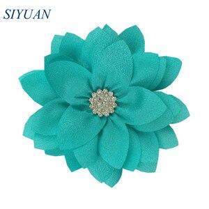 Image 3 - 50 teile/los 9cm Multy Schicht Stoff Blume mit Strass Chic Lotus Blume Kinder Schöne Headwear Zubehör Hohe Qualität TH300