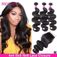 Recool Hair doczepy typu body wave z zamknięciem Remy Hair 6x6 i 5x5 zestawy z zamknięciem peruwiański ludzki włos 3 zestawy z zamknięciem