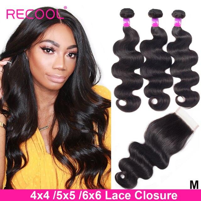 Recool cabelo onda do corpo pacotes com fechamento remy cabelo 6x6 e 5x5 pacotes com fechamento peruano cabelo humano 3 pacotes com fechamento