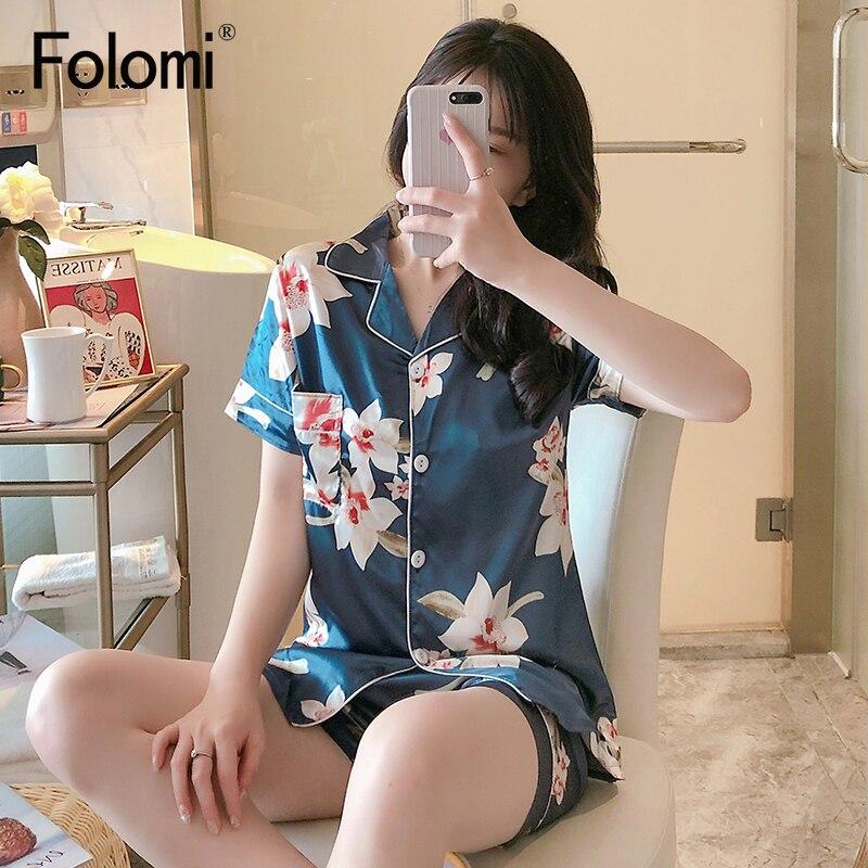 2020 New Printing Short Sleeve Silk Pajamas Set Two Pieces Set Women Sleepwear Cute Nightwear for Women Sleeping set 5