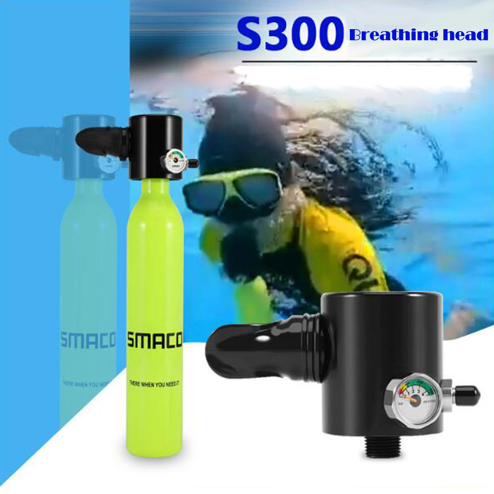 SMACO Diving Equipment Mini Scuba Diving Oxygen Cylinder Head Parts Diving Regulator Breather With Gauge Head Only