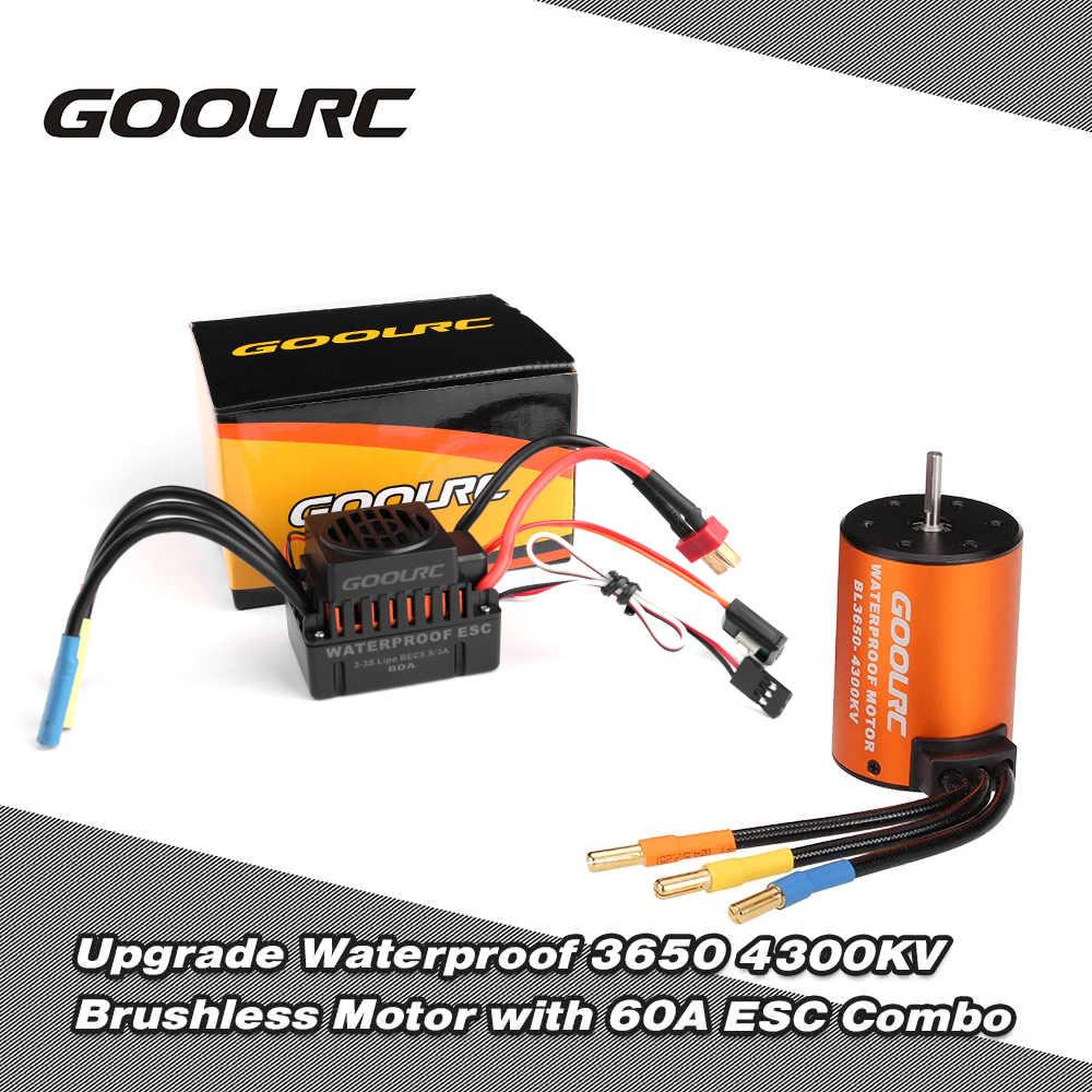 GoolRC อัพเกรดกันน้ำ 3650 4300KV Brushless มอเตอร์ 60A ESC ชุด Combo สำหรับรถบรรทุก 1/10 RC