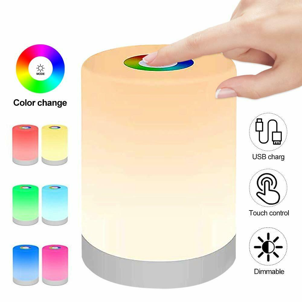 Smart Bedside Table Lamp LED Night Light Dimmable Touch Control USB Rechargeable