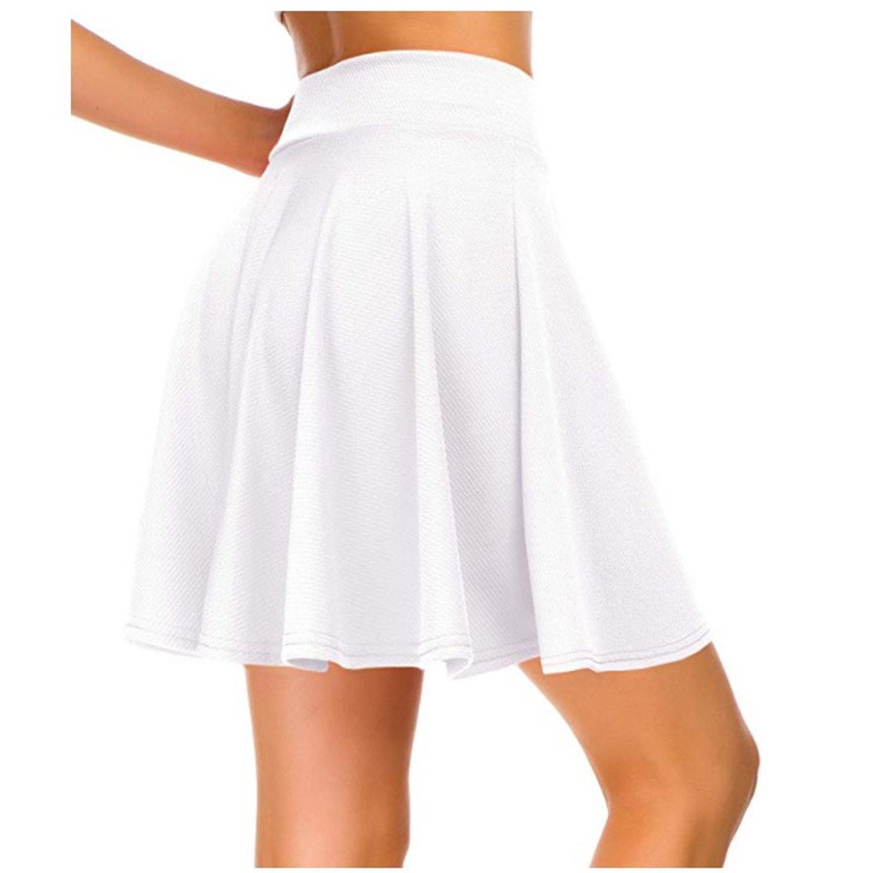 Summer Hot Casual Style Half-length Lotus Leaf Skirt Solid Color High Waist Mini Pleated Skirt Fit Comfort With Elastic Band