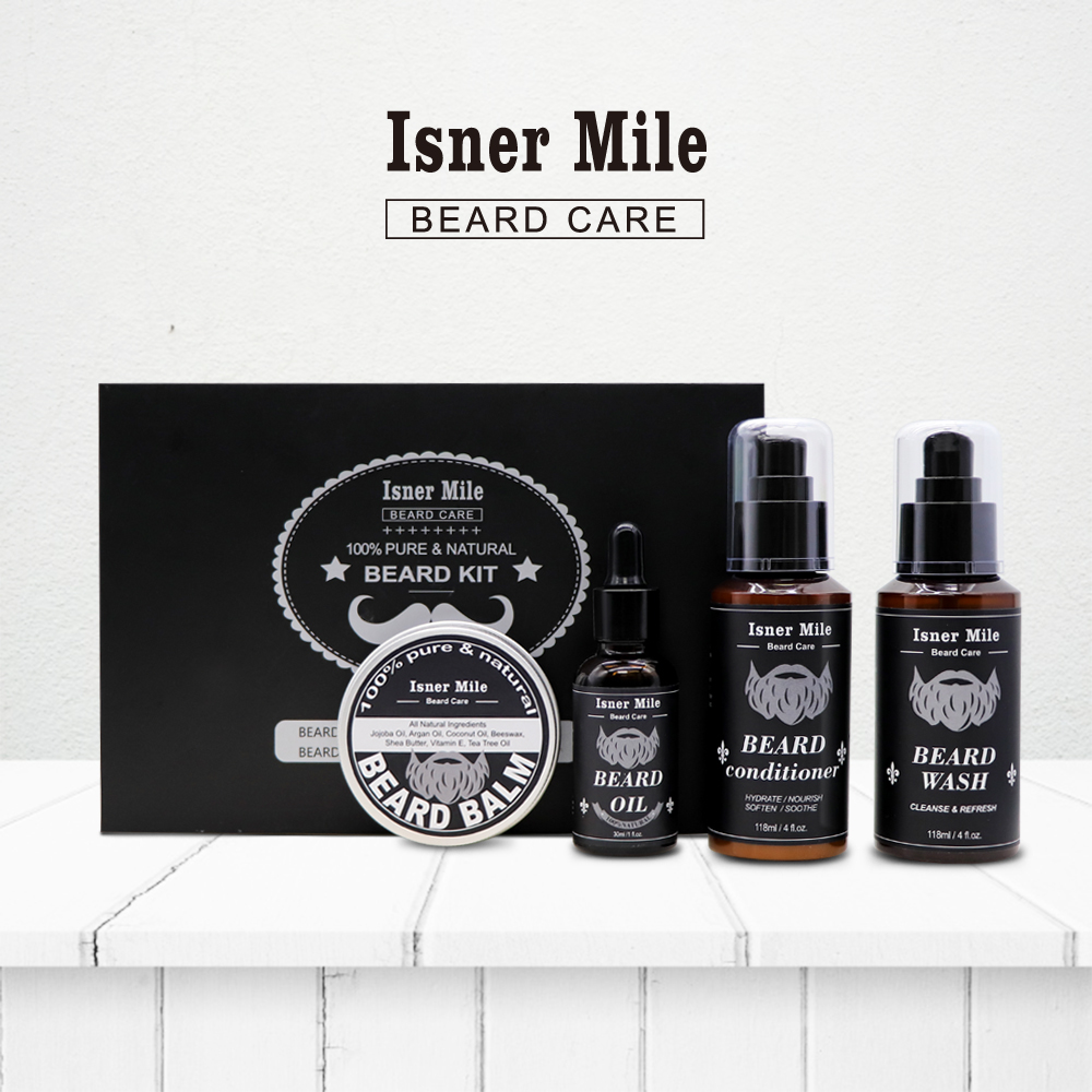 4PCS Beard Oil Beard Balm Men Beard Wash And Conditioner Set Natural Beard Growth Essential Oil Kit Male Beard Care Cleaning Kit