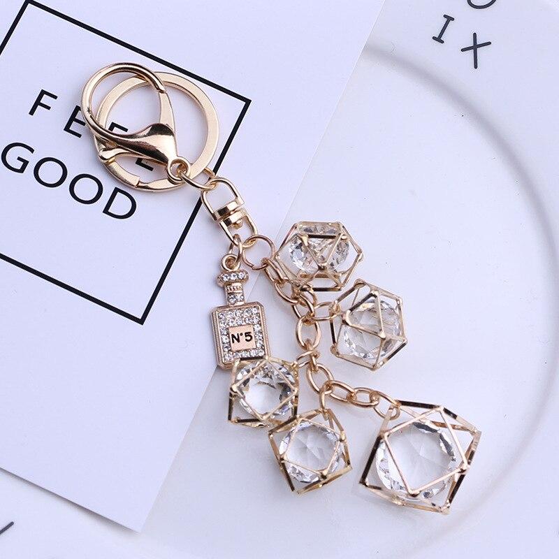 Chaveiro geométrico de personalidade criativa, corrente de chaveiro com pingente de bolsa, porta-chaves de carro para casal 002sl