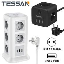 TESSAN متعددة العمودي قطاع الطاقة الاتحاد الأوروبي قابس كهربائي منفذ 11 مآخذ التيار المتناوب 3 منافذ USB 2 متر تمديد الحبل حماية الزائد