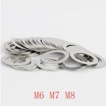 100 шт./лот M6 M7 M8 нержавеющая сталь плоская шайба ультратонких прокладок ультра-тонкий ШИМ Толщина 0,1 0,2 0,3 0,5 1