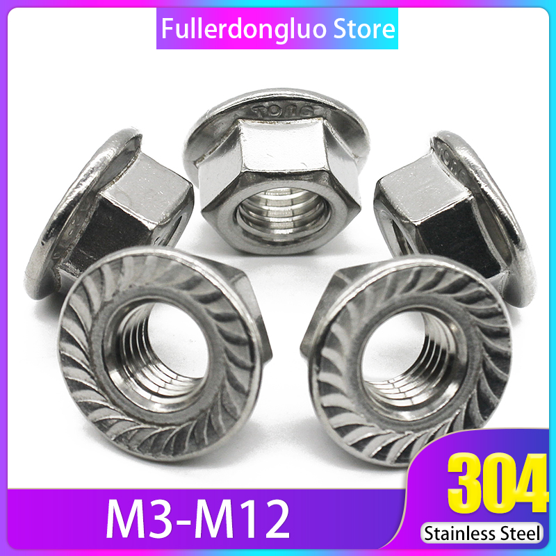 tuercas de aluminio autoblocantes de inserci/ón de nylon tuercas de seguridad de brida hexagonal 10PCS M4 Tuerca de seguridad hexagonal de nylon tuercas de brida
