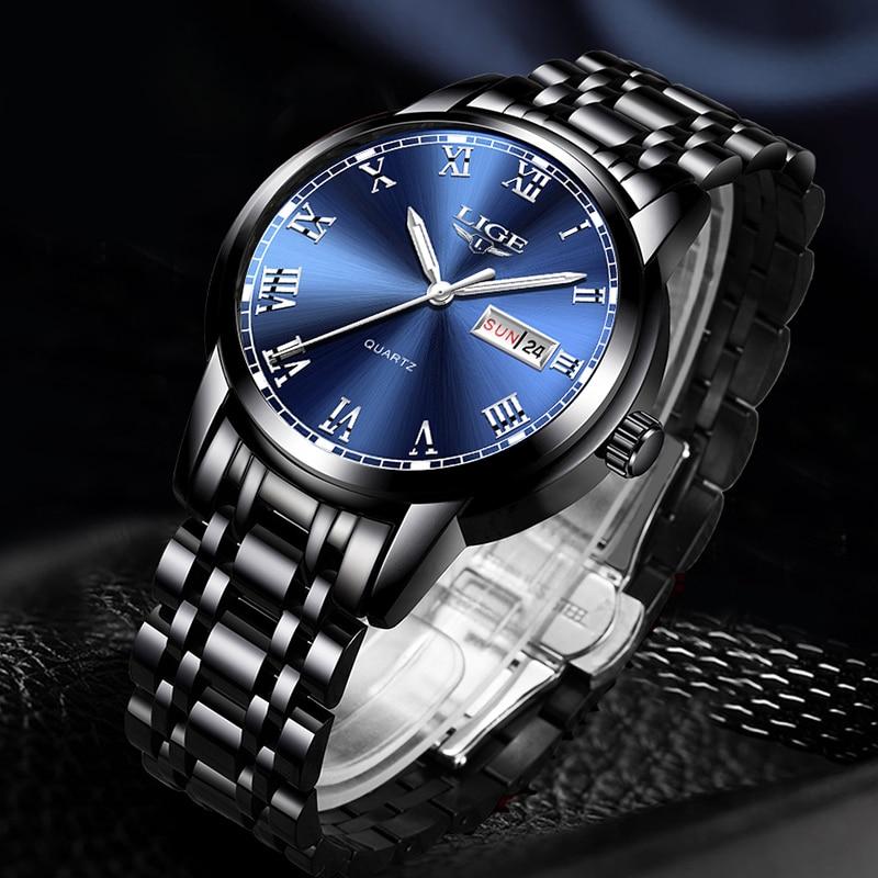2020 New Watches Mens LIGE Top Brand Fashion Date Week Male Stainless Steel Waterproof Business Men WristWatch Relogio Masculino