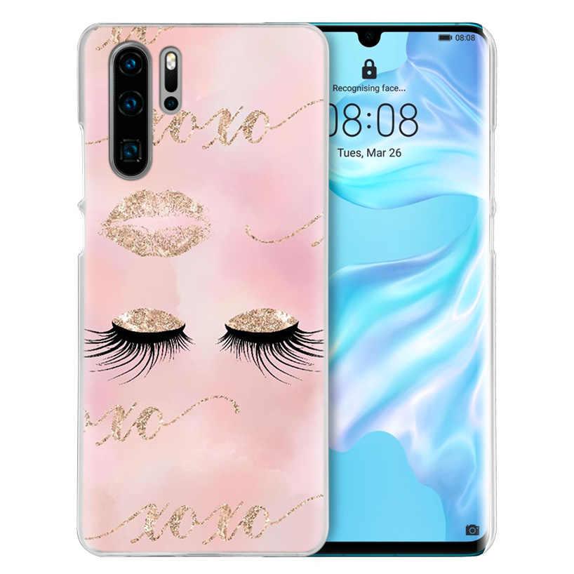 Cílios cor de rosa Imprimir Case for Huawei Companheiro 30 20 10 P20 P30 Lite Pro P Inteligente Y9 Prime 2019 Honra 8A 8X 10i PC Tampa Do Telefone Sacos