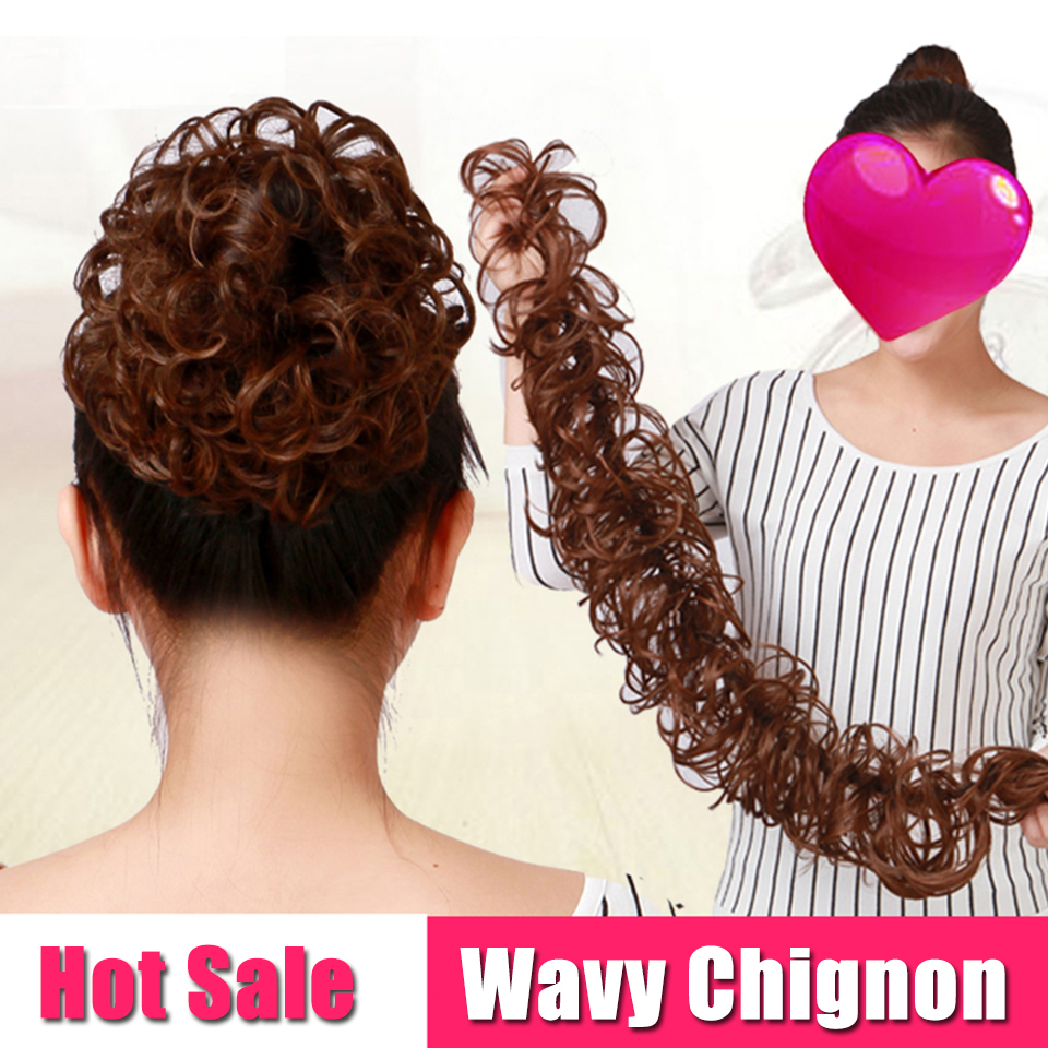 AOSIWIG Long Curly Chignons Hair Tails Flip In Hair Extensions Fake Hair Pieces Heat Resistant Synthetic Chignons  Women