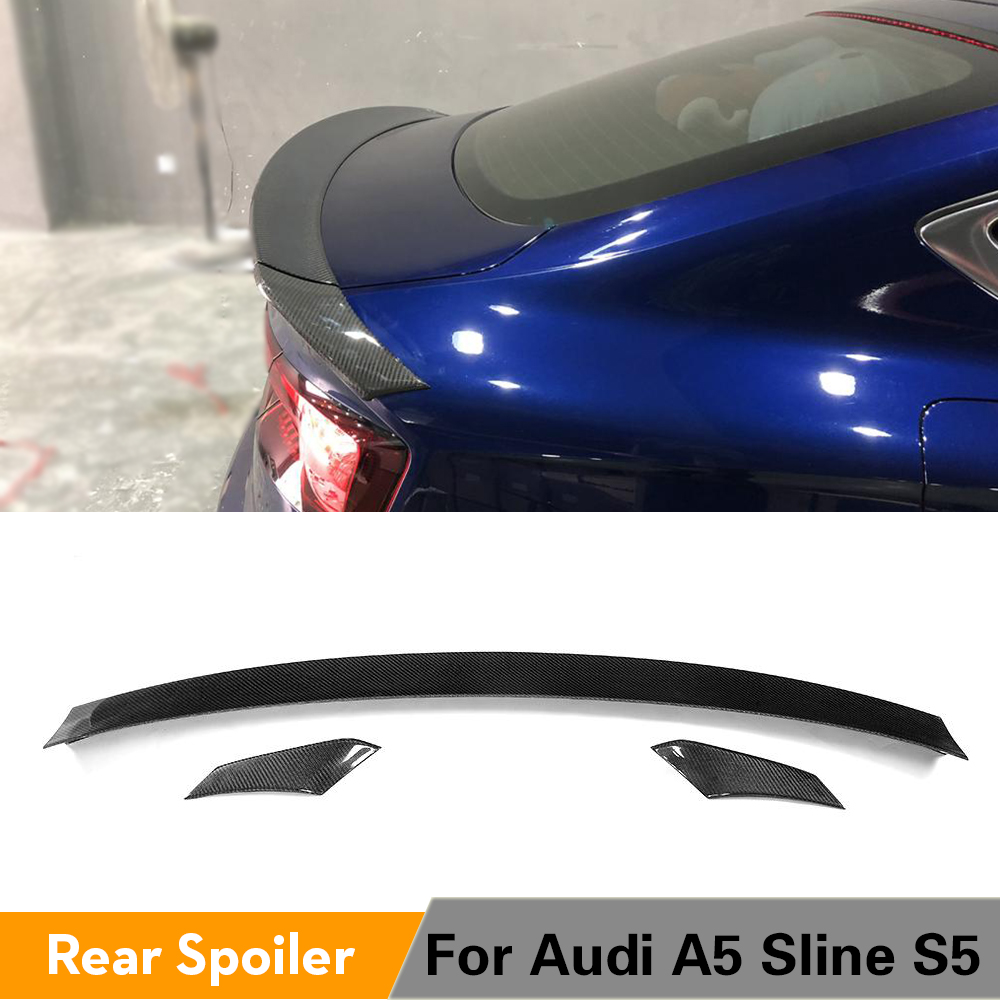 Carbon Fiber Rear Trunk Spoiler Wing for <font><b>Audi</b></font> <font><b>A5</b></font> Sline S5 <font><b>Sportback</b></font> Hatchback 4 Door <font><b>2017</b></font> 2018 2019 3PCS/Set image