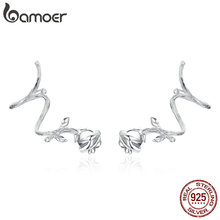 bamoer Thorns Rose Flower Ear Clips for Women Genuine  925 Sterling Silver Vintage Punk Jewelry  Femme Accessories BSE238