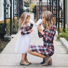 Кружевное платье в клетку с длинным рукавом для мамы и дочки