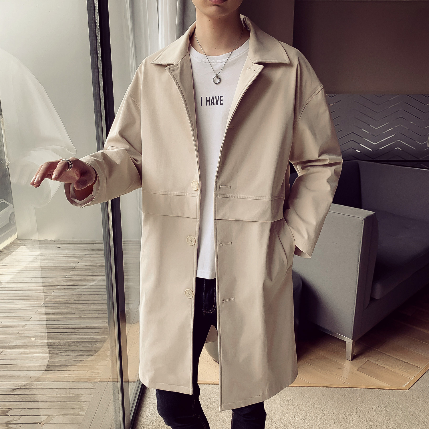 Mens Trench Coat 2019 Mens Mid Length Coat Male Slim Casual Jacket Men's Trenchcoat Masculina Windbreaker Outwear