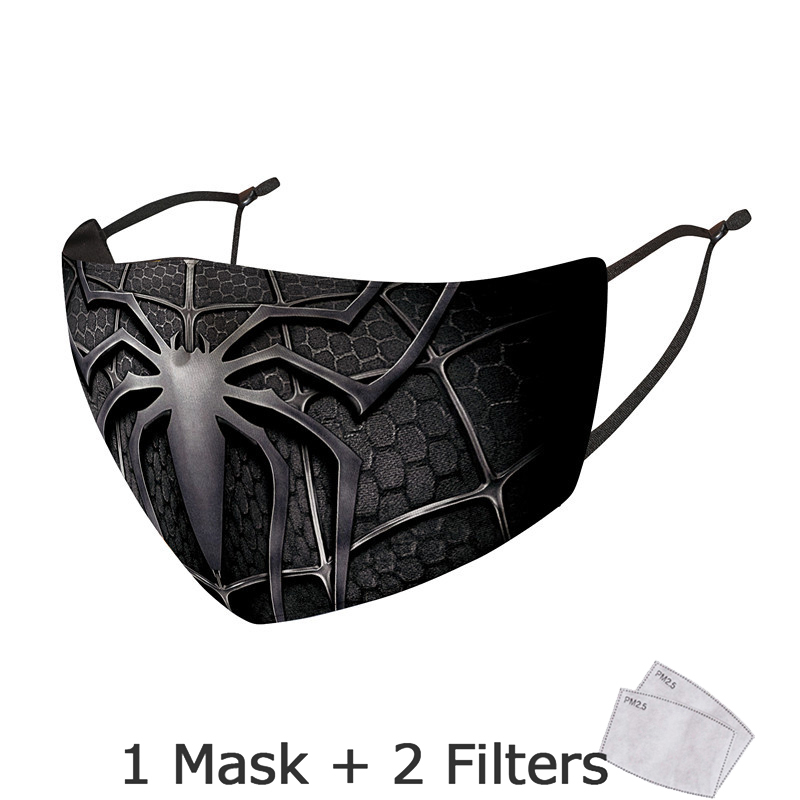 Disney Marvel Superhero Spiderman Mask With Filter Adult Anti Dust PM2.5 Windproof Reusable Mouth Mask Washable mascarillas 4