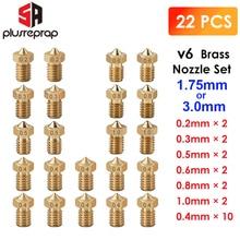 22 PCS/lot V6 Brass Nozzle Head Printer Extruder  For 1.75MM E 3D HotEnd Printer Accessorie