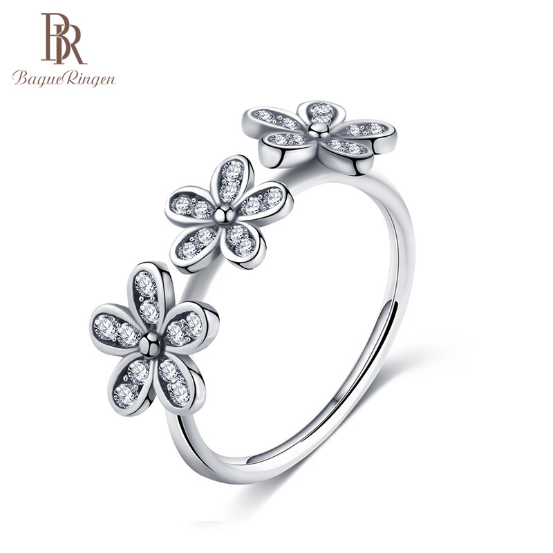 Bague Ringen Silver 925 Jewelry Rings For Women AAA Zircon Flower Shape Female Fashion Designer Size 6-10 Wedding Women Gift