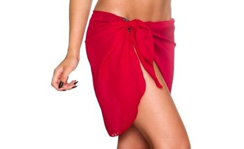 Femmes plage Bikini couvrir couleur unie paréo en mousseline de soie jupe portefeuille Sarong écharpe maillots de bain maillot de bain maillots de bain
