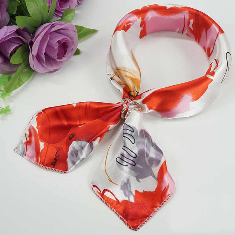 2019 Baru Wanita 50*50 Cm Musim Semi Musim Gugur Jantung Cetak Kecil Syal Persegi Wanita Bando Ikat Rambut Band Pergelangan Tangan bungkus Kepala Bandana