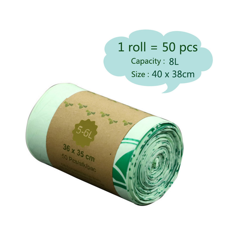 50pcs Trash Bags Biodegradable Garbage Bags Kitchen Clean Compostable Bags Rubbish Bags For Home
