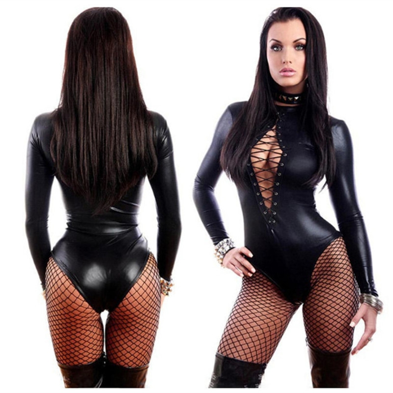 Sexy Latex Catsuit Leather woman Dress for Sex Sexi Pole Dance Erotica Erotic female spandex Bodysuit Lingerie Bondage Sissy
