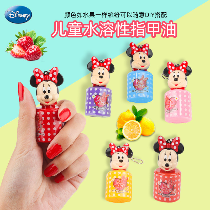 1pc Disney Mickey Minnie Water-soluble Nail Polish Toys  Pretend Play Toys  Girls Makeup Toy Gift