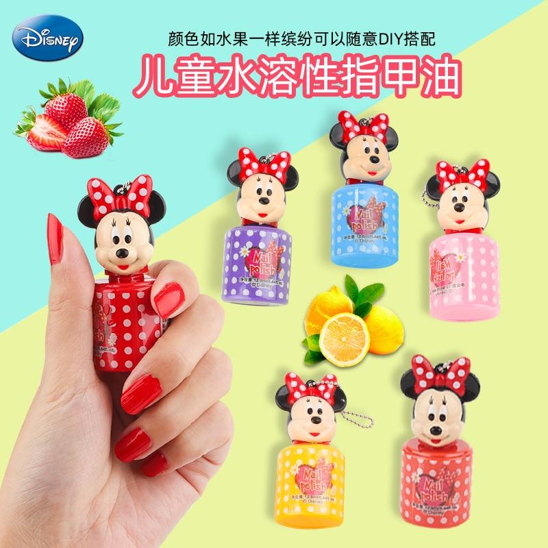 1pc Disney Mickey Minnie Water-soluble Nail Polish Toys  Pretend Play Toys  Girls Makeup Toy Gift