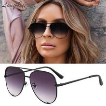 LongKeeper Fashion Sexy Women Large Pilot Driving Sunglasses Men Glasses Retro Vintage Mirror Sun Classic Lady UV400