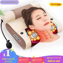 Ogamacrius 2 in1massage travesseiro calor shiatsu dispositivo elétrico cervical saudável massagem de relaxamento do corpo para o massager do pescoço traseiro