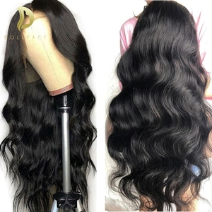 Image 1 - 13x6 lace front Brazilian Body Wave Fake Scalp Wig Lace Front Human Hair Wigs For Black Women pre plucked bleached knots 180%