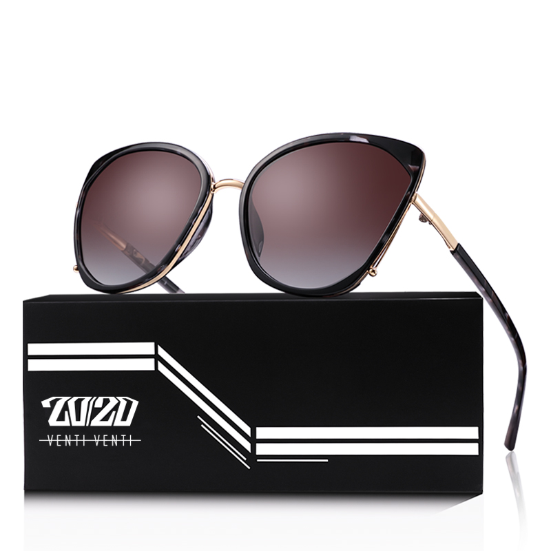 20/20 Brand Vintage Polarized Cat Eye Sunglasses Women Gold Ball Accessories Sun Glasses Shades Female Eyewear Oculos MD1869