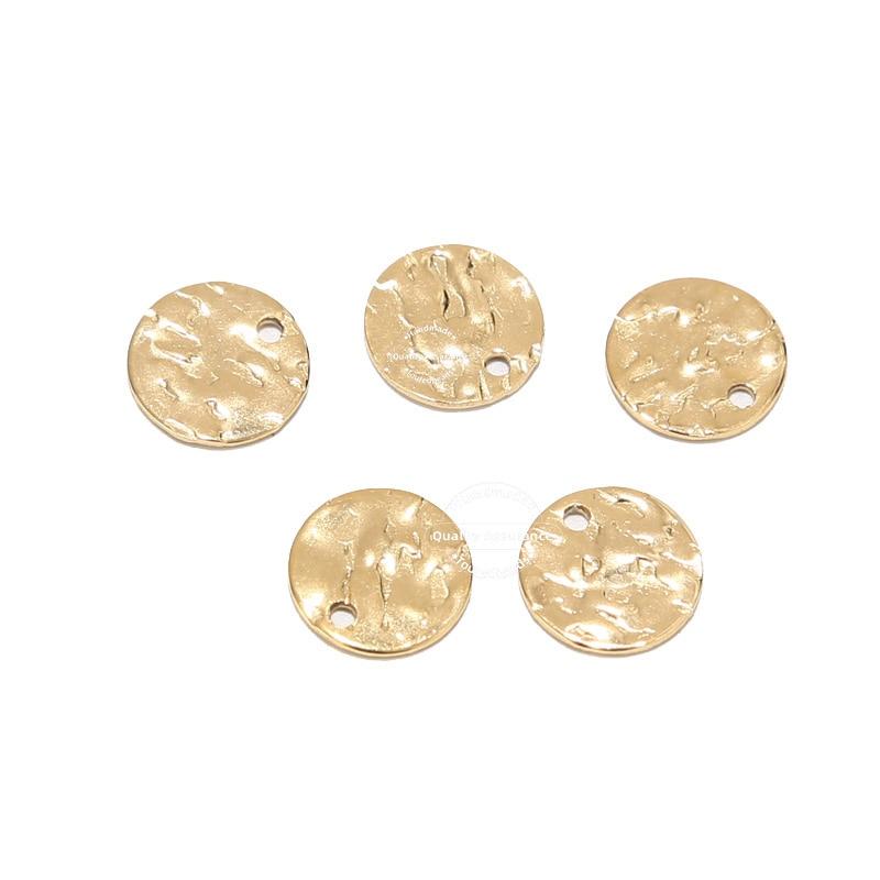 20 adet dövülmüş disk takılar 8mm 10mm 12mm altın kaplama paslanmaz çelik yuvarlak boş sikke boncuk DIY kolye bilezik yapımı
