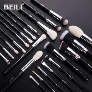 Image 2 - BEILI Black Premium Professional 22pcs Makeup Brushes Set Powder Foundation Goat hair Eyeshadow Blending Beauty Make up Brushes