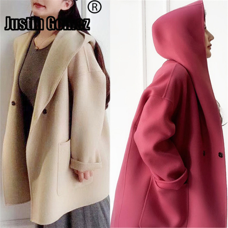 Cute Double side Cozy Warm Hoodie Wool Coat High Quality Elegant Autumn Winter Jacket Loose Oversize Casaco Feminino Inverno