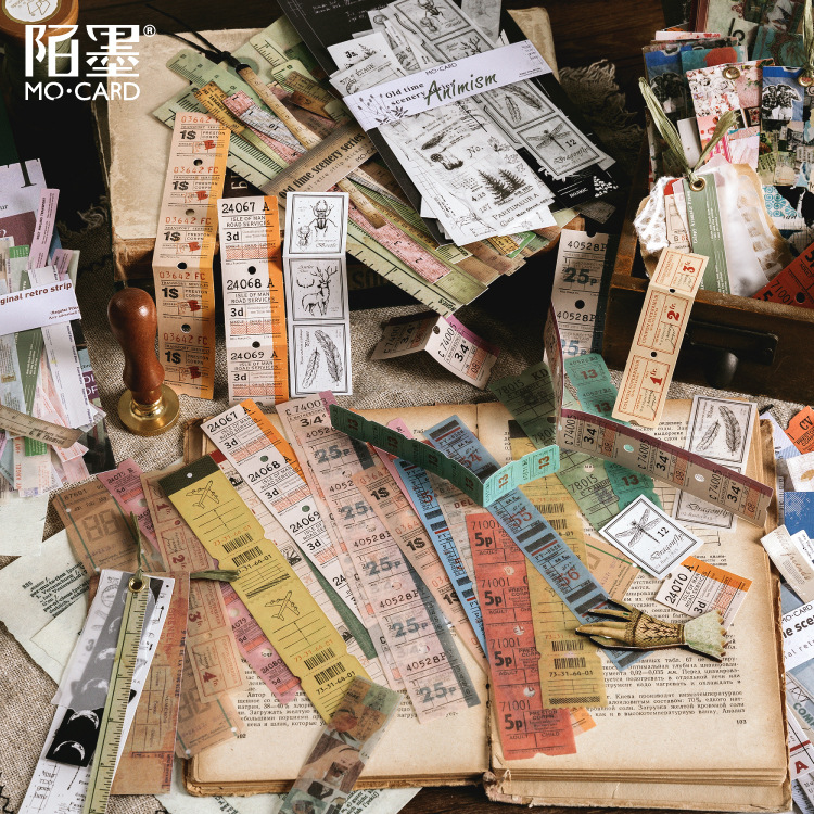 8 Designs Old Time Scenery Antique Ticket Artistic Stickers Journal Deco Stationery Children Sticker Paper 30pcs/pack