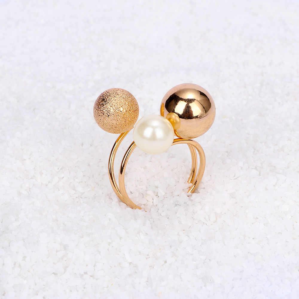 1 Pcs แฟชั่นการพูดเกินจริงเครื่องประดับวงกลมแหวนโลหะขนาดใหญ่ลูกไข่มุกเปิดแหวนสำหรับผู้หญิง
