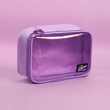 Przezroczysty gwiazda kosmetyczne torba piękna etui do przechowywania kosmetyczka do kąpieli kosmetyczka kobiety pcv małe do makijażu narzędzia tanie tanio Aequeen Candy 13 5cm 19cm zipper Lady 100g PINK PURPLE