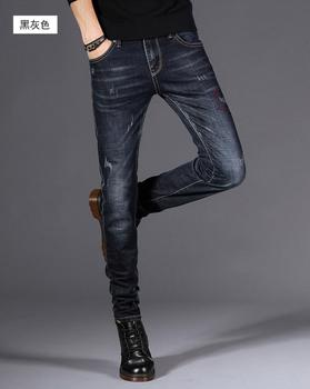 2018 spring and autumn stretch jeans maa1 men's black slim feet pants black youth men's pants tide K2020-16A