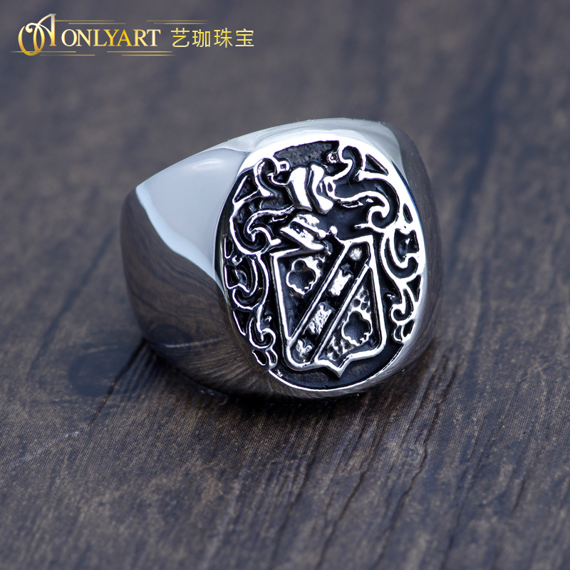 Stainless Steel Gold Color Plated Fleur De Lis Cross Square Comfort Fit Signet Ring