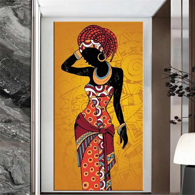 Beautiful African Woman Art Black and Gold Colour Paintings Printed on Canvas 2