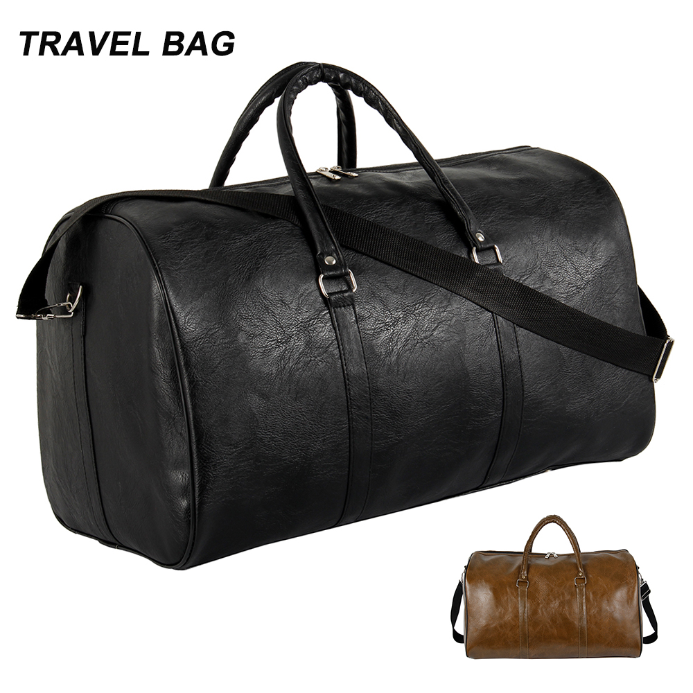 2019 Quality Travel Bag Black PU Leather Couple Travel Bags Hand Luggage For Men And Women Fashion Duffle Bag