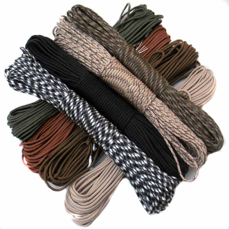 100FT Paracord 550 Cord Rope 7 Stand For Monkeys Fist Self Defense Slungshot Sailors Broken Window Personal Survival Weapons
