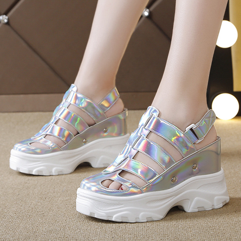 Embroidery Flower High Heel Casual Wedge Sneakers Increase Thick Platform Shoes
