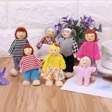 7 шт/компл Семейные куклы счастливого дома деревянные фигурки