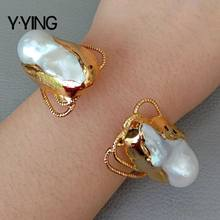 Cultured White Keshi Pearl Bangle Gold color Plated Bracelet