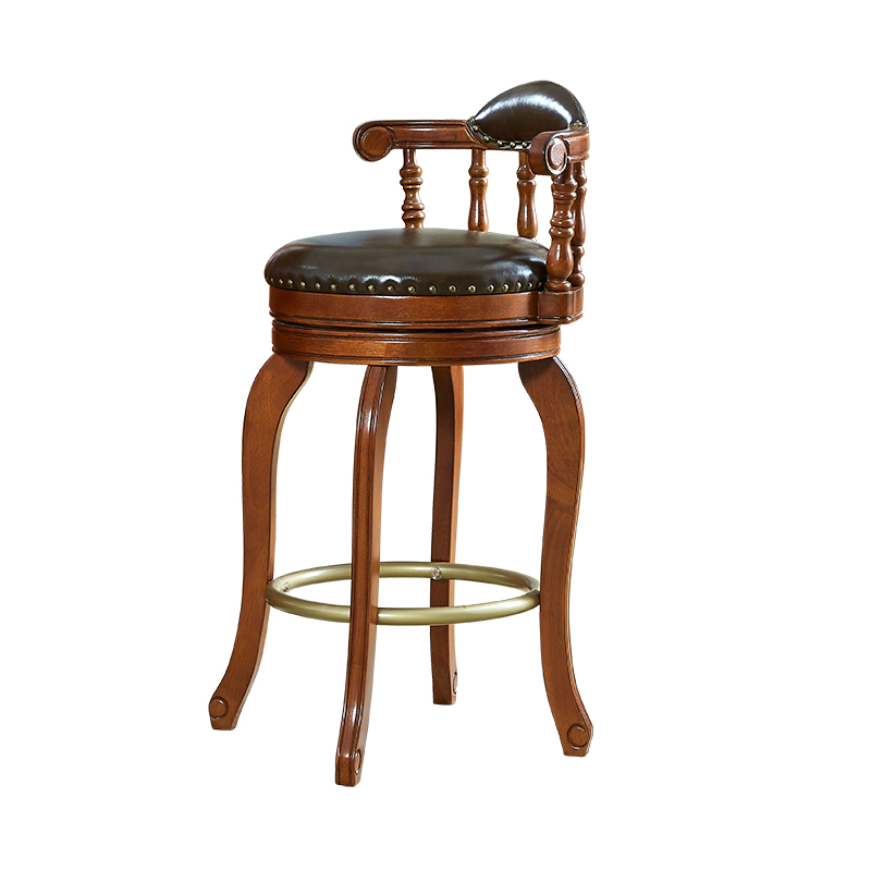 European Style Bar Chair Home Simple   Leather Backrest Swivel  Stool American High  Solid Wood