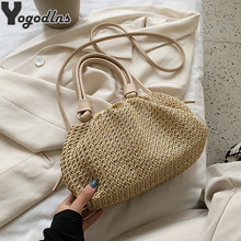 Straw Woven Cloud Bags For Women 2020 Summer PU Leathe Handbags Shoulder Bag Summer Holiday Beach Crossbody Bag Female(China)
