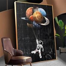 Картина маслом на холсте астронавт в космосе декор детской комнаты